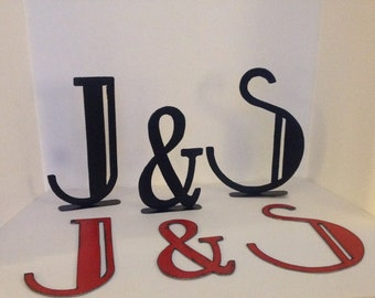 """Metal Letters, Pair of 10"""" Metal Letters with Ampersand, Metal initials, Art Deco Style Letters, Distressed Letters,"""