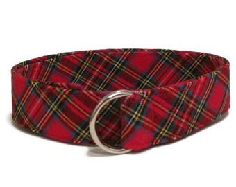 Red Plaid D-ring Belt Child Red Belt Toddler Belt / Christmas Belt / Preppy Belt for Boys Girls Women's waist - Holiday Belt Red Plaid