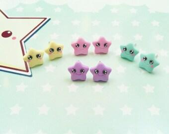earrings kawaii star  polymer clay