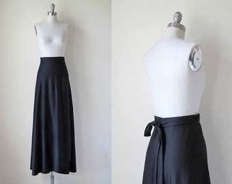 1970s vintage black long maxi high waist wrap self tie waist skirt s m