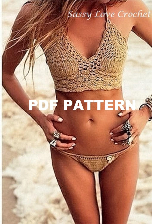 Crochet Bronze Brazilian Bikini Pattern,Festival crochet crop top ...