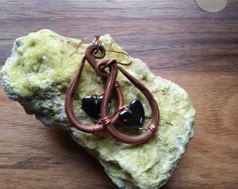 Copper Earrings Hematite Hypoallergenic