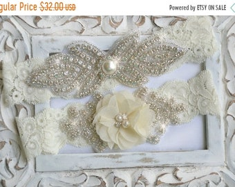 ON SALE Wedding Garter Set,  Bridal Garter Set, Lace Garter, Rhinestone Garter, Crystal Garter, Pearl Wedding Garter Belt,Style  -GR 520