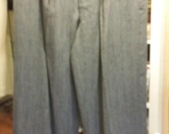 1950s Style Men's Trousers Gray w Black Fleck waist 32 Rockabilly Free belt