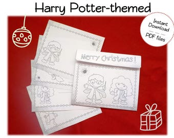 Wizard Coloring Christmas Cards + Matching Envelopes for little wizards and witches and Harry Potter fans - DIY,