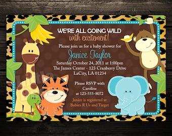 Zoo Invitation -- Birthday Invitation -- Baby Shower Invitation -- Printable Digital download Design