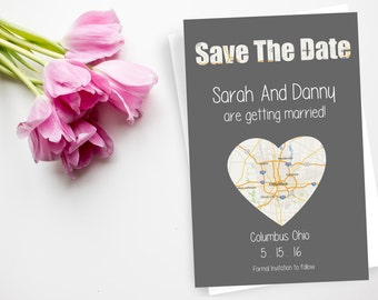 Travel Themed Save The Date Wedding Invitation Postcard, Save The Date Cards, Save The Date Post Card, Save Our Date Wedding Invite