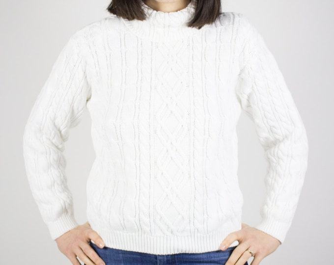 90s Vintage Cable Knit Turtleneck Sweater | White Pullover | Size Medium