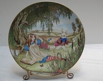 Alice and the White Rabbit Collectible Plate by Sandy Nightingale