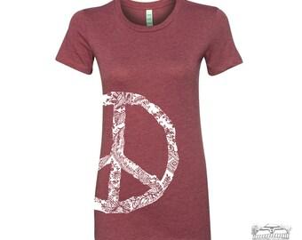 Womens Vintage PEACE t shirt -hand screen printed s m l xl xxl (+ Color Options) custom custom