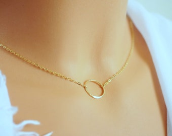 Gold circle necklace. Dainty Gold circle Necklace. Karma Necklace 14k Gold. Gold Filled. Chain Choker. Dainty necklace karma. Mothers day.