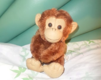 "Russ Monkey plush little 6"" 1980's  NWOTS Brown buddy face small vintage"
