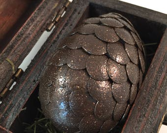 Dragon Egg with Box - Dragon Egg with Chest - Dragon Egg Decor - GoT Dragon Egg - BROWN with SPARKLES - Regal Style Box