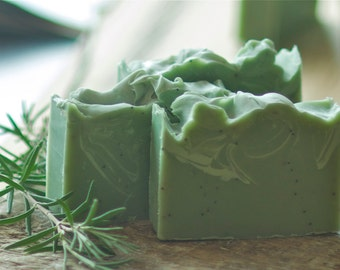 Rosemary Lime Soap with Poppy Seeds -  Essential Oil Soap -  Exfoliating Soap - Organic Shea Butter Soap - Green Goddess