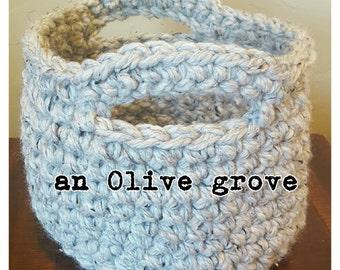 The Olive Basket in Medium - a finished crochet handled basket