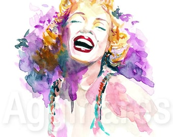 Marilyn Monroe / art print from an original watercolor painting