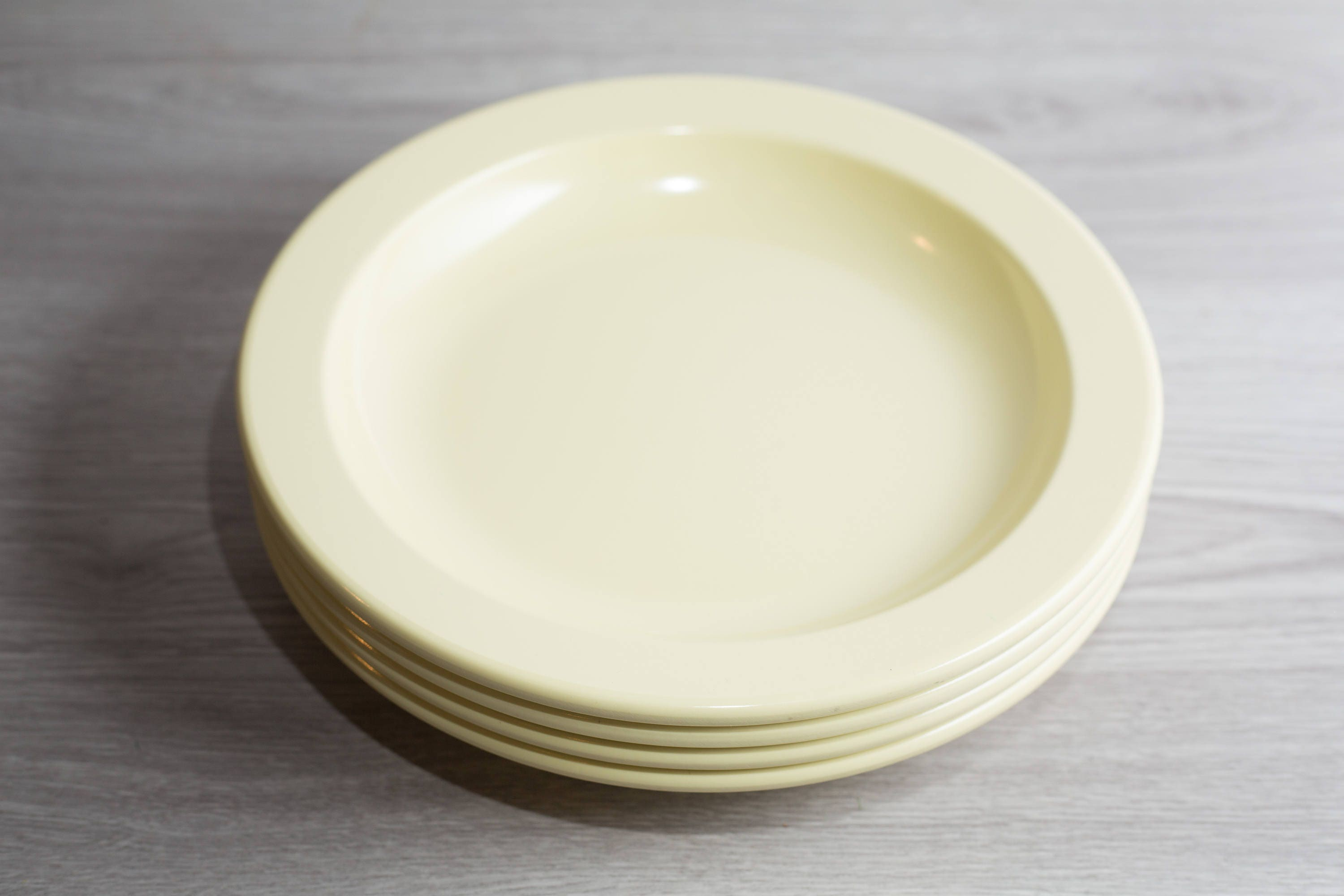 Vintage Mistral Melamine Plates 4 piece Set of Soft Yellow Dinnerware Dinner Plates by Hamelin / Made in Canada / Pastel C&ing Bowls : dinner plates canada - pezcame.com