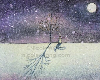 Original ACEO Drawing and Painting -- Snowman