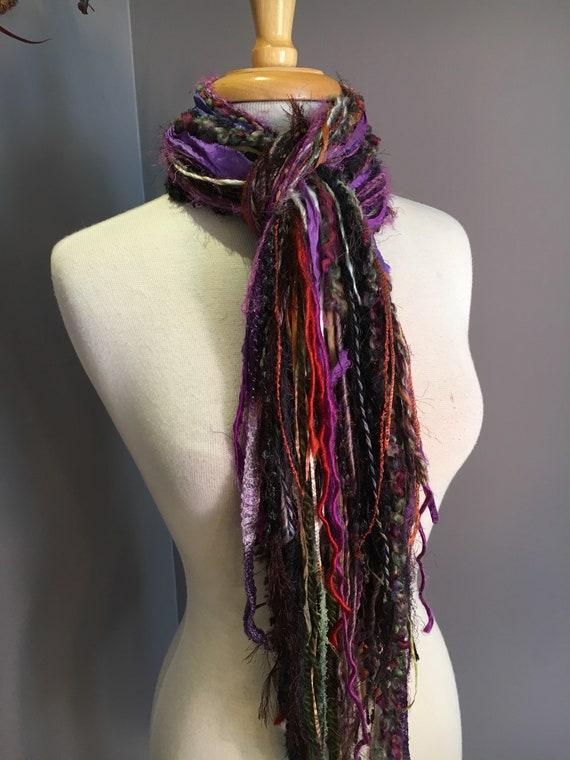 Long Fringie in Fruitopia, Fringe Scarf, Handmade hand-tied art yarn scarf in orange brown purple, bohemian, gifts, long scarf, ribbon scarf