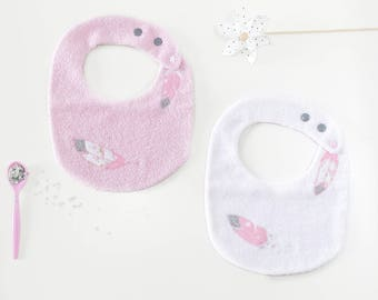 Bundle baby bib baby bibs baby bib baby birth, adjustable bib, gift baby girl embroidered feathers, white, pink