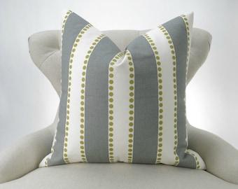 Dot Stripe Pillow Cover -MANY SIZES- Lulu Summerland - gray citrine green natural decorative throw euro sham custom Premier Prints
