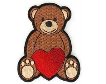 Love Heart Teddy Bear Iron on Patch 3 x 2.4 inches Free Shipping P5602