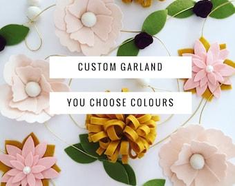 CUSTOM FLOWER GARLANDS / Nursery Garland / Birthday Party Flower Garland / Wedding Garland / Flower Garlands / Felt Flower Garlands /Garland