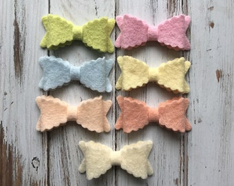 SMALL Scalloped Wool Felt Bows  - Pastel Spring Collection - Set of 14 - NEW Sizes Available