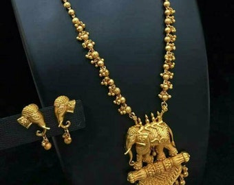 Bahubali Antique gold plated Elephant Statement necklace set Bollywood Fashion jewellery