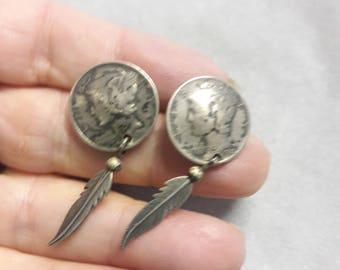 Silver Mercury Dime Earrings