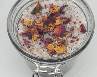 Rose petal with coconut oil sugar scrub, handmade Natural sugar scrub