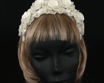 Rare Vintage Lace Rosette Bridal Headband