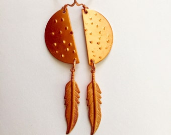 Half Moon Sheild and Feather Earrings