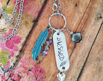 BLESSED Long Stamped Necklace> Long Boho Necklace/ Hand-Stamped/ Turquoise/ Charm Necklace/ Boho Jewelry/ Mantra Jewelry/ Feather Jewelry/