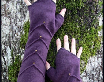 arm warmers ~ red purple teal black or gray fleece armwarmer ~ brass stud detail for steampunk flavor