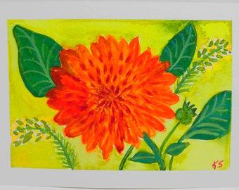 Orange Dahlia Flower 7x5 Gouache Painting