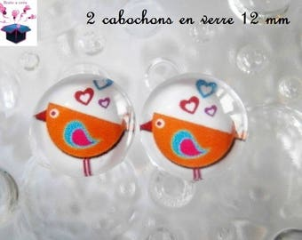 2 glass cabochons 12 mm for loop theme birds in the Meadow