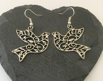 Dove earrings / dove jewellery / animal earrings / animal jewellery / animal lover gift