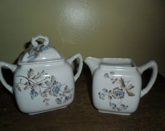 Vintage Sugar and Creamer Set~John Maddock & Sons~Royal Semi Porcelain~Flowers~Butterflies~Hand Painted