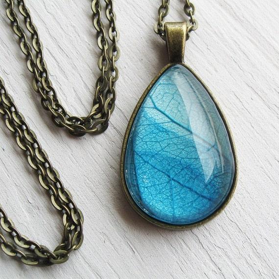 Real Leaf Necklace - Sky Blue Teardrop Botanical Necklace