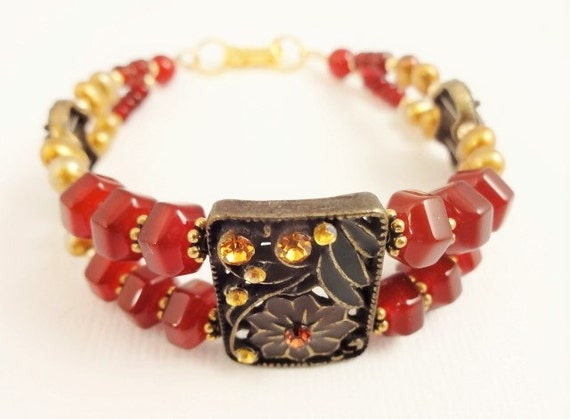 Carnelian and Pearl Two Strand Bracelet