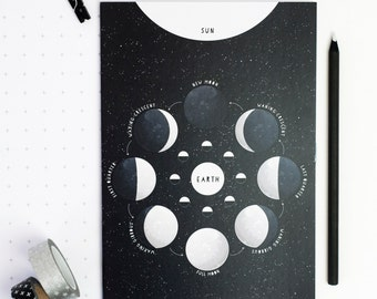 MOON PHASES NOTEBOOK Stationery Gift. Black Educational Night Sky Astronomy Plain Pages Science Geek Back to School Teacher Gift For Him Her