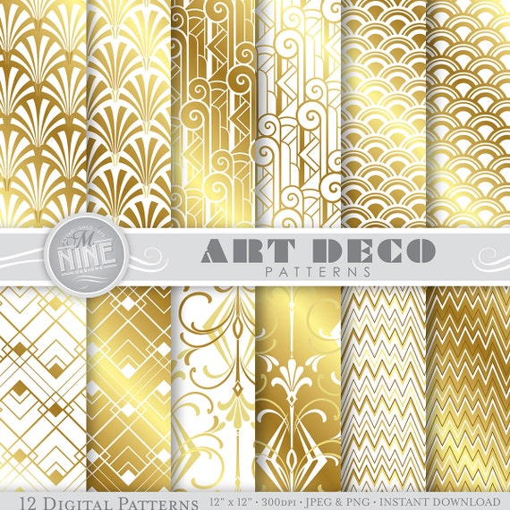 Art deco digital paper gold white art deco patterns pattern art deco digital paper gold white art deco patterns pattern prints art deco backgrounds print from mninedesigns on etsy studio voltagebd Images