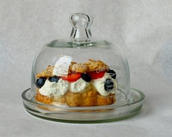 Dessert server, Vintage cake stand, Glass serving dish, Cheese serving dish, French cheese serving tray, Dessert tray with lid