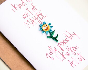 Valentine present. I like you card - Card for Girlfriend - Card for Boyfriend - Funny card for boyfriend