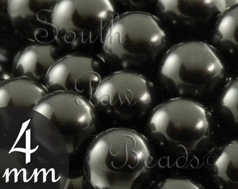 4mm Black Swarovski 5810 glass Pearls, Qty 25