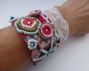Romantic Pink, lace, bead, button and velvet handcrafted cuff. UK seller