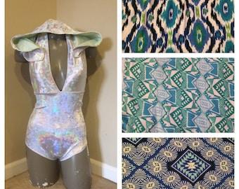 Made to order Von Deeper bodysuit; hooded leo; deep v neck bodysuit; eco-friendly romper; festival bodysuit; rave bodysuit; hooded bodysuit