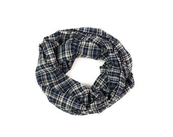 Plaid Infinity Scarf, Plaid Scarf, Flannel Scarf, Girlfriend Gift Western Boss Gift, Circle Scarf Gift for Her Best Friend Gift Navy Scarf