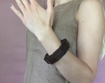 1970s wooden cuff bracelet | dark brown wood chunky bracelet